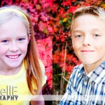 girl and boy portraits with fall leaves