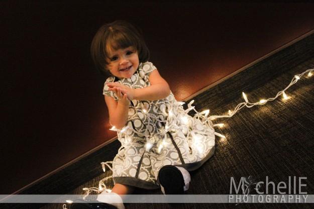 girl in christmas lights, christmas card