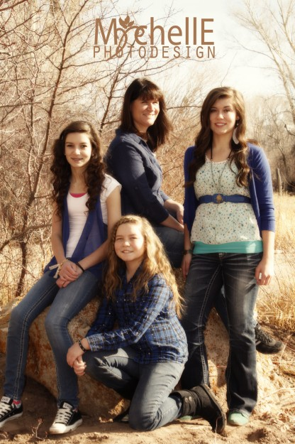 mom and daughters outdoor portrait
