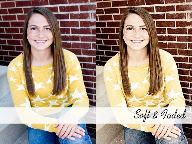 soft and faded photoshop action before and after